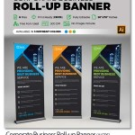 طرح لایه باز بنر استند تجاری Corporate Business Roll-up Banner