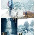 اکشن فتوشاپ بارش برف زیبا Let It Snow Photoshop Action