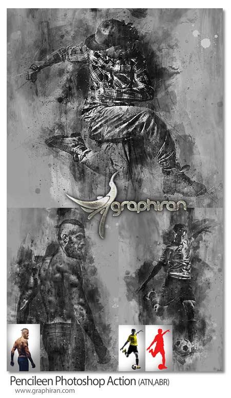 اکشن فتوشاپ تبدیل تصاویر به نقاشی سیاه و سفید