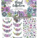 دانلود پک تصاویر وکتور گل و بوته رنگی Vector Floral Collection