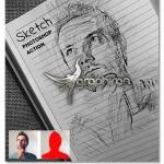 اکشن فتوشاپ تبدیل عکس عادی به طراحی Sketch Photoshop Action