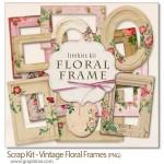 طرح های فریم و قاب عکس قدیمی گلدار Vintage Floral Frames