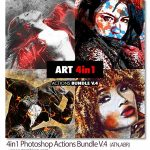 پک ۴ اکشن فتوشاپ افکت های گرافیکی ۴in1 Photoshop Actions Bundle V.4