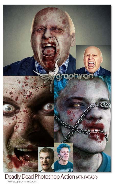 اکشن فتوشاپ ایجاد چهره زامبی ترسناک
