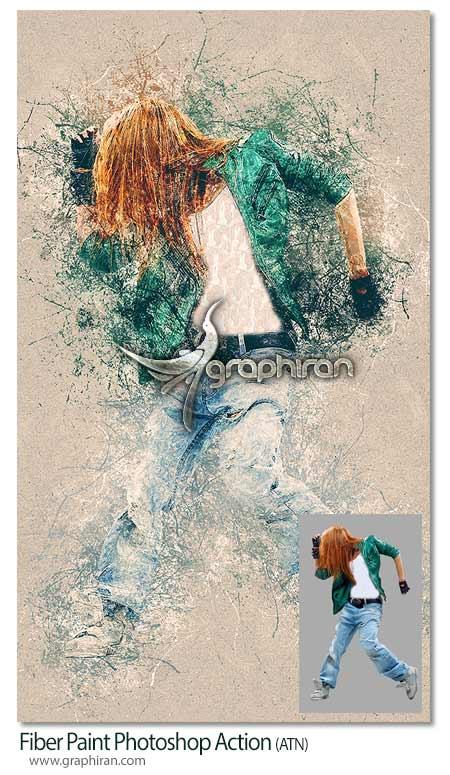 اکشن فتوشاپ نقاشی فیبری