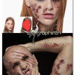 اکشن فتوشاپ ساخت گریم زامبی روی صورت Zombie Photoshop Action