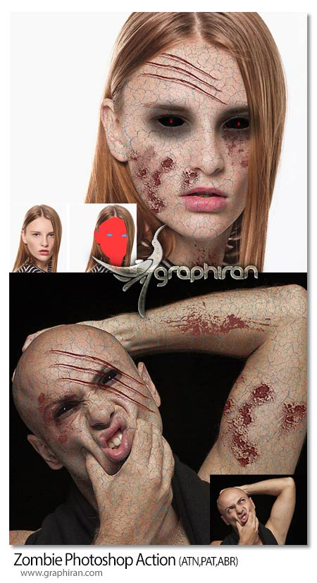 اکشن فتوشاپ ساخت گریم زامبی روی صورت