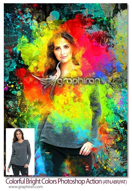 اکشن فتوشاپ نقاشی رنگارنگ