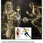 اکشن فتوشاپ تبدیل سوژه به مجسمه طلا Gold Confetti Photoshop Action