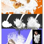 اکشن فتوشاپ افکت ریختن و پاشیدن شیر Milk Spill and Splatter Image Effect