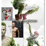 اکشن فتوشاپ ساخت افکت خزه روی بدن Moss Photoshop Action