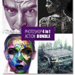 دانلود ۴ اکشن فتوشاپ متنوع و خلاقانه Photoshop 4in1 Actions Bundle