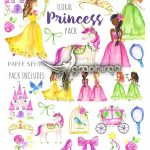 تصاویر برش خورده پرنسس های کارتونی Watercolor Princess Pack