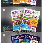 دانلود 3 پوستر تبلیغاتی بازگشایی مدرسه After School Program PSD Flyer