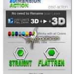 دانلود اکشن فتوشاپ سه بعدی کردن متن و شکل ۳D Action