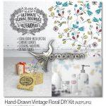 دانلود بیش از ۲۰۰ وکتور گل دار Hand-Drawn Vintage Floral DIY Kit