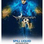 اکشن فتوشاپ افکت گرافیکی ریختن مایعات Spill Liquid Photoshop Action