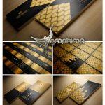 دانلود 5 طرح کارت ویزیت طلایی شیک PSD لایه باز - شماره 423