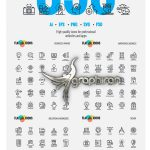 دانلود پک عظیم ۳۵۰ آیکون خطی فلت Big Collection of Flat Line Icons