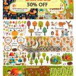 دانلود مجموعه تصاویر وکتور کارتونی با موضوع جنگل Forest Bundle