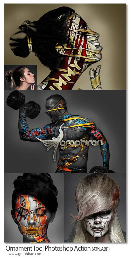اکشن فتوشاپ ساخت طرح روی بدن