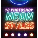 دانلود ۱۸ استایل متن فتوشاپ افکت نئون Photoshop Neon Styles