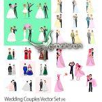 دانلود مجموعه تصاویر وکتور عروس و داماد Wedding Couples Vector