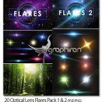 دانلود ۲۰ طرح لایه باز نورهای لنزی Optical Lens Flares Packs 1 & 2