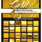دانلود مجموعه 24 استایل جدید فتوشاپ طلا Styles Gold Collection