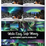 دانلود ۳۳ عکس پوششی شفق قطبی زیبا Аurora Borealis Photo Overlays