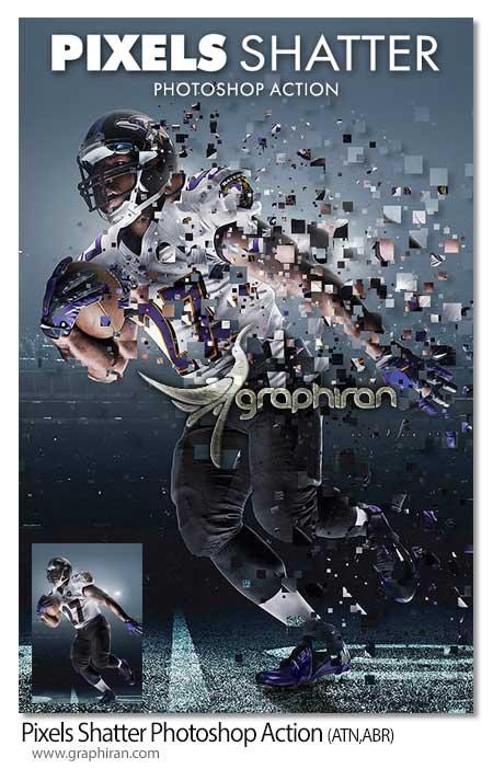 اکشن فتوشاپ خرد شدن عکس به پیکسل ها