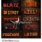 دانلود ۱۰ افکت متن ۳ بعدی آتشی برای فتوشاپ ۳D Text Effects