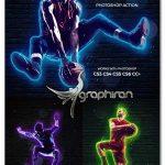 اکشن فتوشاپ انیمیشن لامپ نئون Neon Glow Photoshop Action Animated