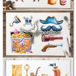 دانلود المان های گرافیکی کودکانه دزد دریایی Pirates Watercolor illustrations