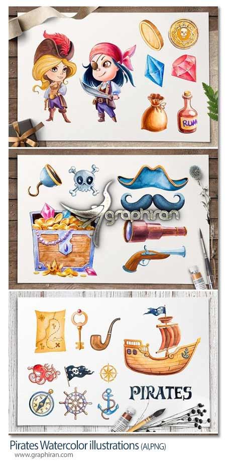 المان های گرافیکی کودکانه دزد دریایی