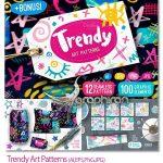 دانلود مجموعه تصاویر وکتور پترن های هنر مدرن Trendy Art Patterns