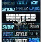 دانلود بیش از ۲۰ افکت متن برفی و زمستانی فتوشاپ Winter Season Styles
