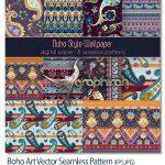 تصاویر پترن های وکتور سبک بوهو Boho Art Vector Seamless Pattern