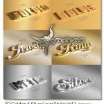 دانلود ۶ استایل ۳ بعدی طلایی و نقره ای ۳D Golden & Silver Layer Styles