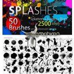 دانلود ۵۰ براش فتوشاپ پخش شدن رنگ HQ SPLASHES Brush Set