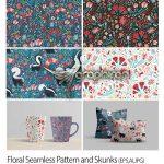 مجموعه تصاویر پترن گل های زیبا Floral Seamless Pattern and Skunks