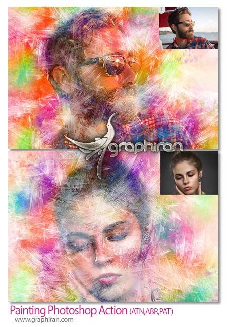 اکشن فتوشاپ افک نقاشی زیبا