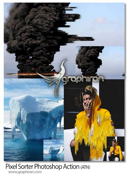 اکشن فتوشاپ ریختن پیکسل های عکس