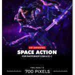 اکشن فتوشاپ انیمیشن فضایی Animated Space Photoshop Action
