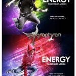 اکشن فتوشاپ افکت نورهای پر انرژی Energy Photoshop Action