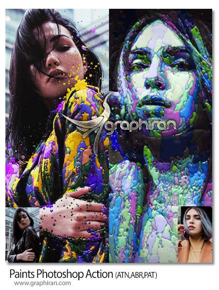 اکشن فتوشاپ نقاشی عکس با ریختن رنگ