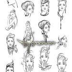 دانلود مجموعه طرح های خطی چهره زن زیبا فرمت وکتور EPS