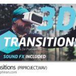 پروژه رایگان پریمیر ترانزیشن های 3 بعدی آماده 3D Transitions