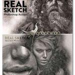 اکشن حرفه ای فتوشاپ افکت نقاشی Real Sketch Pro Photoshop Action