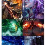 مجموعه ۲۴۰ براش رعد و برق حرفه ای فتوشاپ Ron's Lightning FX
